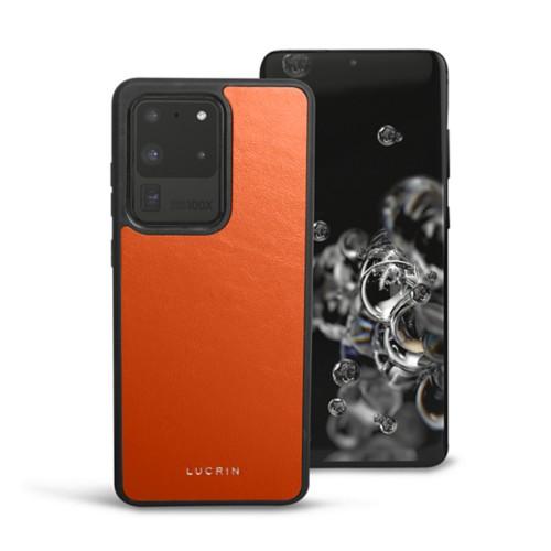 Cover voor Samsung Galaxy S20 Ultra - Oranje - Soepel Leer