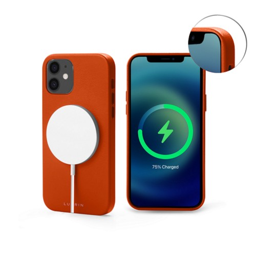 iPhone 12 MagSafe Case - Orange - Smooth Leather