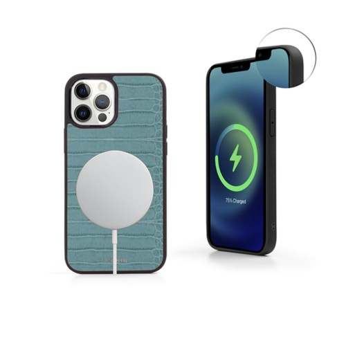 iPhone 12 Pro MagSafe Cover - Turquoise - Crocodile style calfskin