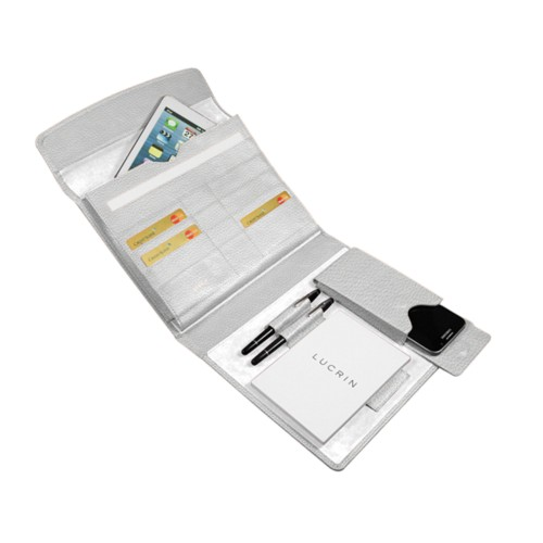 A5 Document Holder with iPad support - White - Granulated Leather