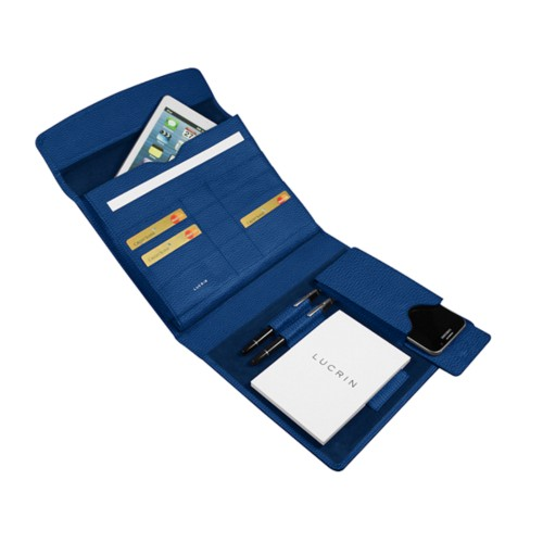 A5 Document Holder with iPad support - Royal Blue - Granulated Leather