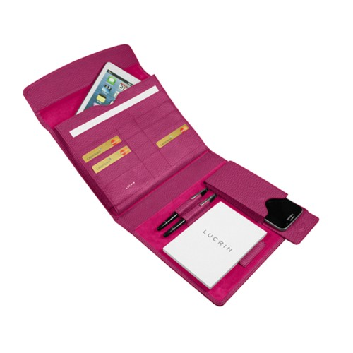 A5 Document Holder with iPad support - Fuchsia  - Granulated Leather