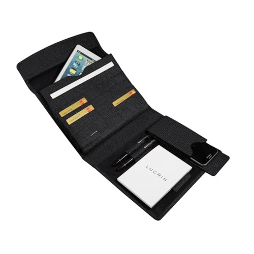 A5 Document Holder with iPad support - Black - Granulated Leather
