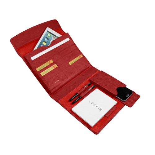 A5 Document Holder with iPad support - Red - Granulated Leather