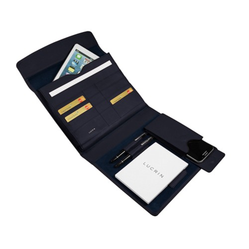 A5 Document Holder with iPad support - Navy Blue - Smooth Leather