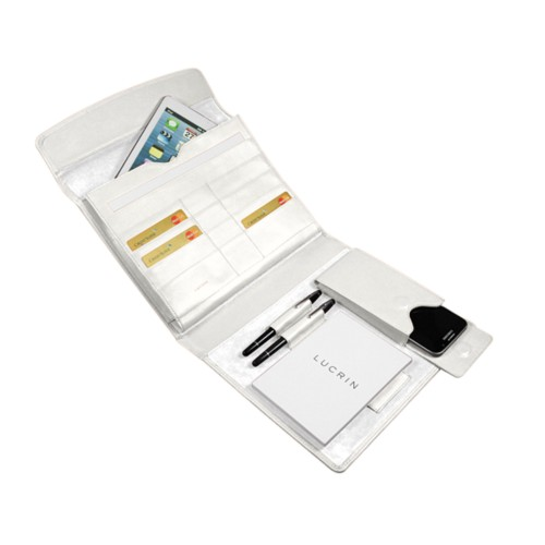 A5 Document Holder with iPad support - White - Smooth Leather