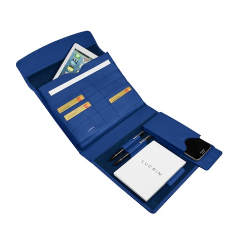 A5 Document Holder with iPad support - Royal Blue - Smooth Leather
