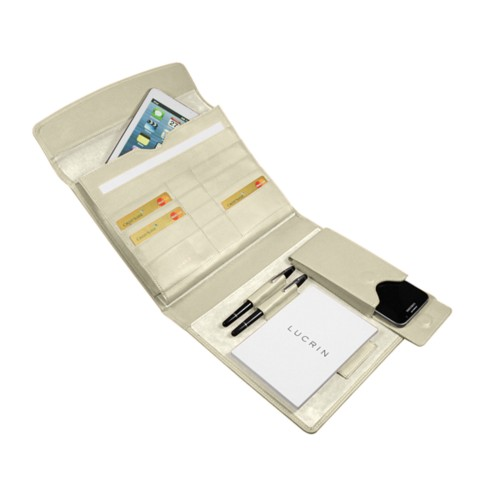 A5 Document Holder with iPad support - Off-White - Smooth Leather