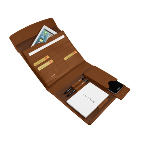 A5 Document Holder with iPad support - Tan - Smooth Leather