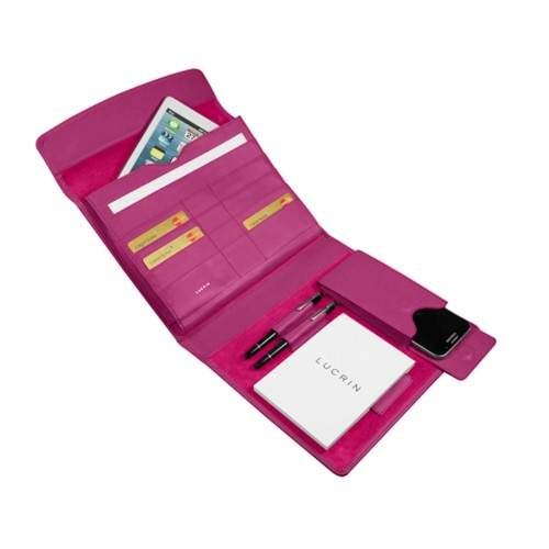 A5 Document Holder with iPad support - Fuchsia  - Smooth Leather