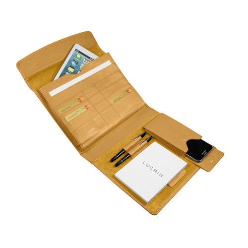 A5 Document Holder with iPad support - Mustard Yellow - Smooth Leather