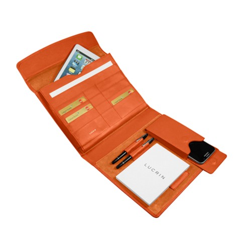A5 Document Holder with iPad support - Orange - Smooth Leather