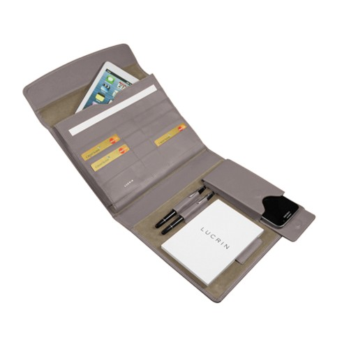 A5 Document Holder with iPad support - Light Taupe - Smooth Leather