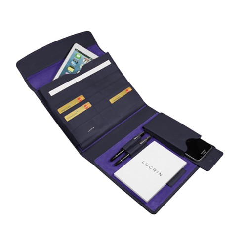 A5 Document Holder with iPad support - Purple - Smooth Leather