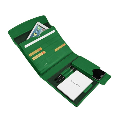 A5 Document Holder with iPad support - Light Green - Smooth Leather