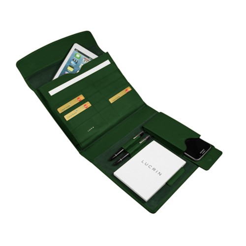 A5 Document Holder with iPad support - Dark Green - Smooth Leather