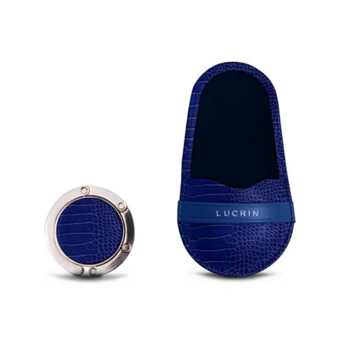 Bag Hanger - Royal Blue - Crocodile style calfskin