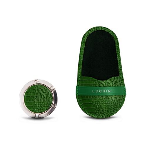 Bag Hanger - Light Green - Crocodile style calfskin