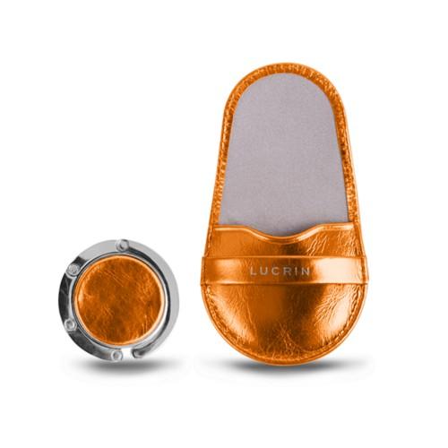 バッグハンガー - Orange - Metallic Leather