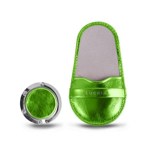 バッグハンガー - Light Green - Metallic Leather