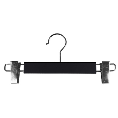 Hanger with clips - Black - Smooth Leather