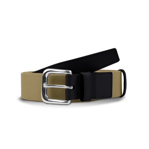 Leather-cotton beige belt 1.4 inches