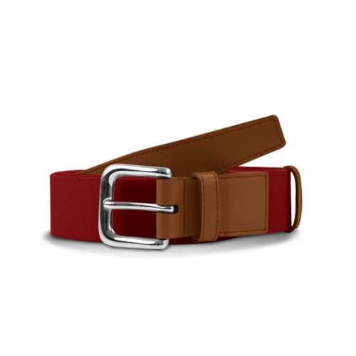 Leather-cotton red belt 1.4 inches