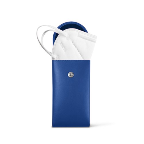Face Mask Pouch - Royal Blue - Smooth Leather