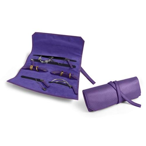 Schmuck und Uhrenetui zum Einrollen - Lavendel - Genarbtes Leder