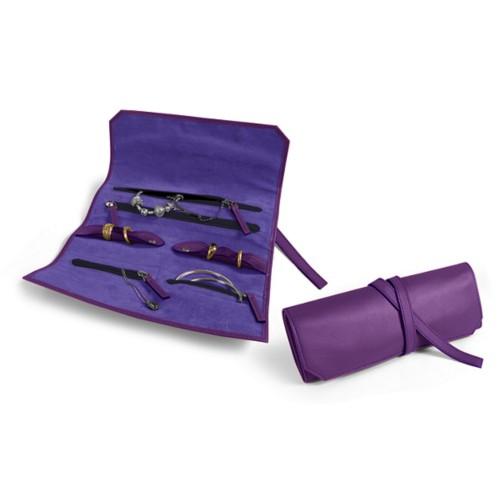Schmuck und Uhrenetui zum Einrollen - Lavendel - Glattleder