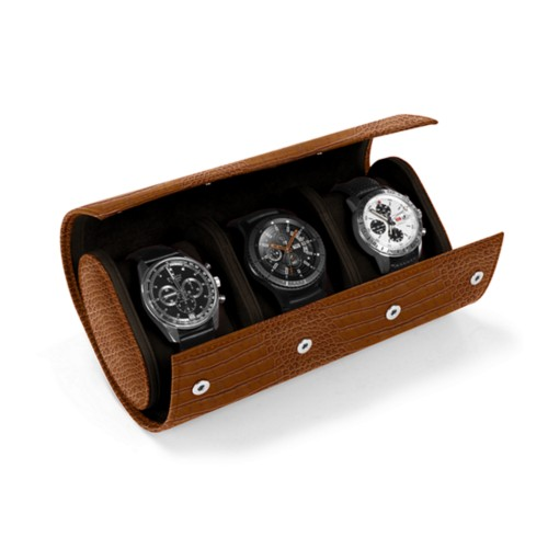 Watch case for 3 watches - Camel - Crocodile style calfskin