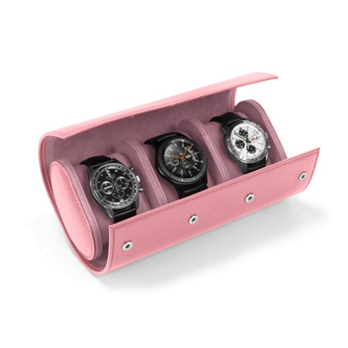 Watch case for 3 watches - Pink - Smooth Leather