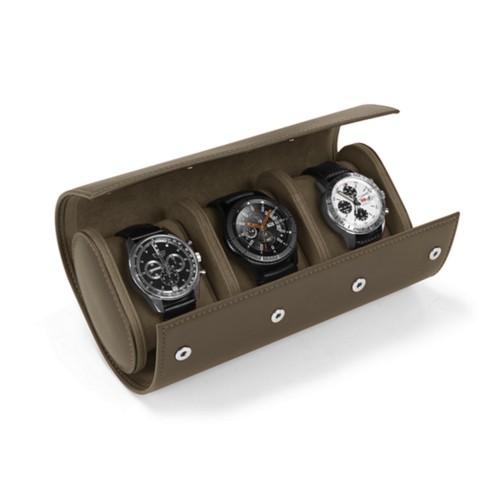 Boîte 3 montres - Taupe Foncé - Cuir Lisse