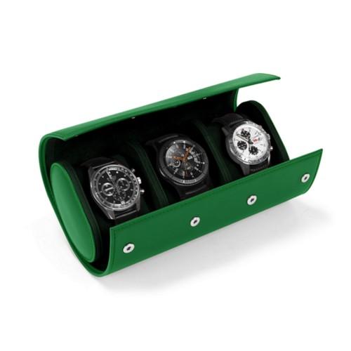 Boîte 3 montres - Vert - Cuir Lisse