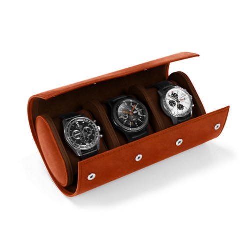 Watch case for 3 watches - Tan - Vegetable Tanned Leather