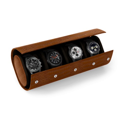 Watch Case for 4 Watches - Camel - Crocodile style calfskin