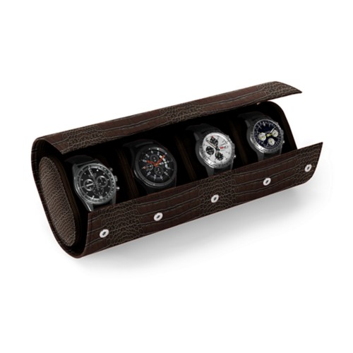 Watch Case for 4 Watches - Dark Brown - Crocodile style calfskin