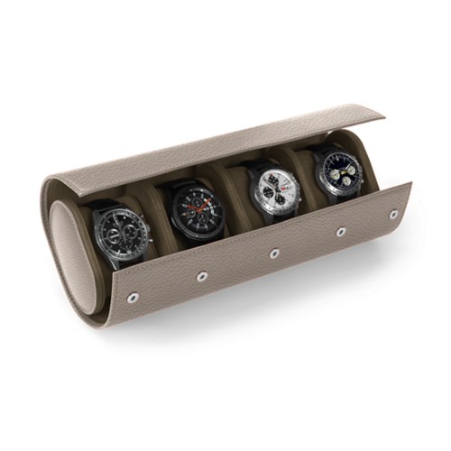 Watch Case for 4 Watches - Light Taupe - Granulated Leather