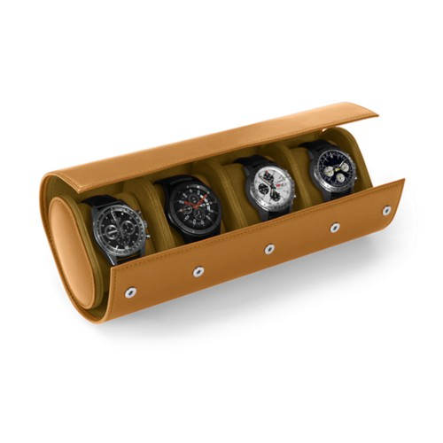 Watch Case for 4 Watches - Natural - Smooth Leather