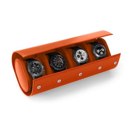 Boîte 4 Montres - Orange - Cuir Lisse