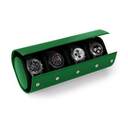 Boîte 4 Montres - Vert - Cuir Lisse