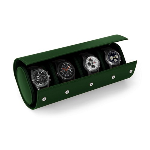 Watch Case for 4 Watches - Dark Green - Smooth Leather
