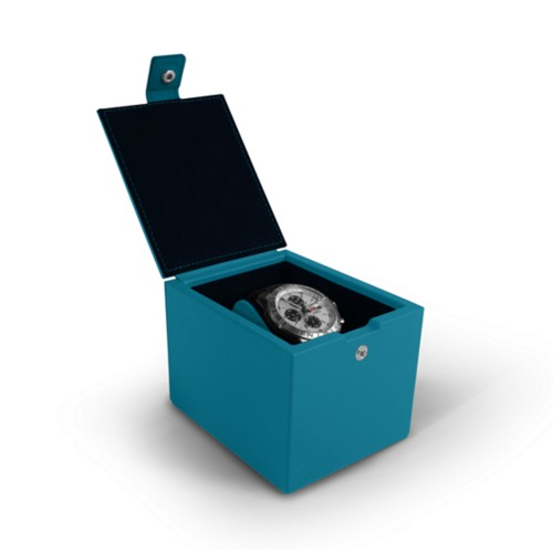 Watch box for 1 watch - Turquoise - Smooth Leather