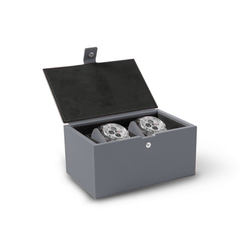 Watch box for 2 watches - Mouse-Grey - Smooth Leather