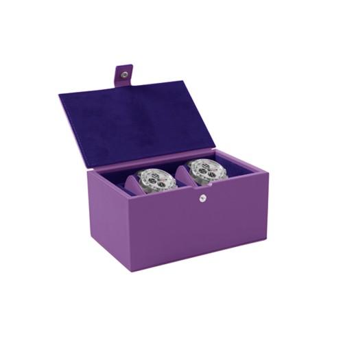 Boîte à montre pour 2 montres - Lavande - Cuir Lisse