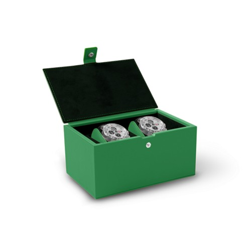 Watch box for 2 watches - Light Green - Smooth Leather