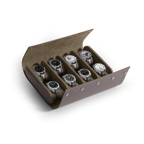 Watch Roll for 8 Watches - Light Taupe - Smooth Leather