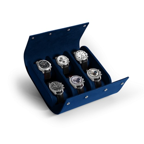 Watch Roll for 6 Watches - Royal Blue - Granulated Leather