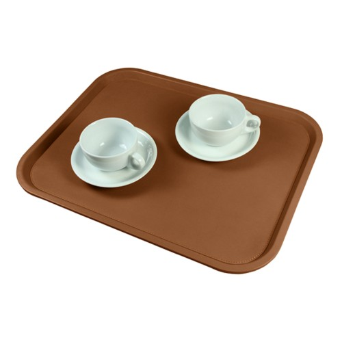 Serving Tray (17.7 x 13.8 inches) - Tan - Smooth Leather