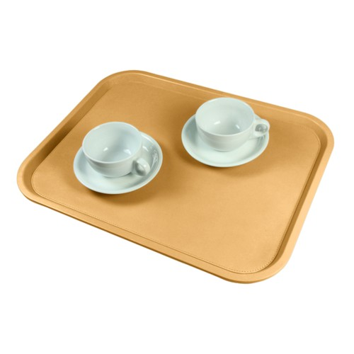 Serving Tray (17.7 x 13.8 inches) - Yellow - Smooth Leather